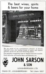 1970 ADVERT - JOHN SARSON AND SON SWAN STREET LOUGHBOROUGH (Midlands Vehicle Photographer.) Tags: street john swan son advert and 1970 loughborough sarson