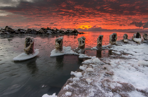 Frozen pilons along Lake Michigan near Milwaukee, WI