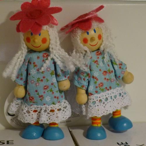 Two little wooden dolls