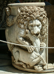 Lion devouring a young horse (Tiigra) Tags: 2007 italy rome vatican animal carving hairdo interior lion otheranml rope sculpture lazio art