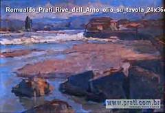 Romualdo Prati Rive dell Arno olio su tavola 24x36cm Collezione privata