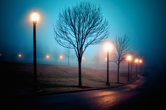 Sleep Walking (Sky Noir) Tags: park street city blue sky mist weather yellow fog night walking photography gold virginia twilight noir mood streetlights sleep dream foggy atmosphere richmond walkway va dim atmospheric rva skynoir