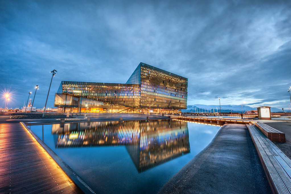 I just arrived in Reykjavik, Iceland and spotted this exceptional piece of architecture. This is Harpa Concert Hall and it sits right on Reykjavik's coast.
