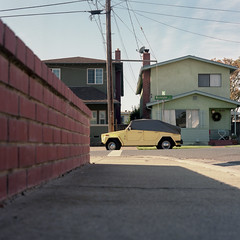 (patrickjoust) Tags: auto california ca usa house color brick 120 6x6 tlr film home yellow wall vw analog america volkswagen square lens bay us reflex focus automobile fuji power mechanical thing united north patrick twin east negative wires covered area vehicle medium format parked states manual 80 joust alameda estados c41 unidos fujicolorpro400h mamiyac330s autaut sekor80mmf28 patrickjoust