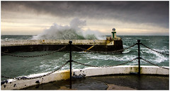 Laxey at Spring Tide (Heathcliffe2) Tags: lighthouse waves tide stormy isleofman floods hightide laxey
