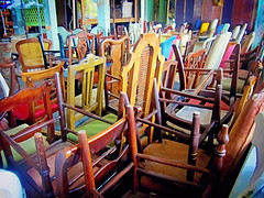 Chair Stacks (ericmshore) Tags: stilllife usa newyork america canon vintage chairs furniture powershot storage queens longislandcity metropolitanbuilding s95 canonpowershots95