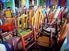 Chair Stacks (ericmshore) Tags: stilllife usa newyork america canon vintage chairs furniture powershot storage queens longislandcity metropolitanbuilding s95 canonpowershots95