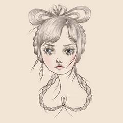 With a Ribbon in my Hair (Vomit Girl) Tags: portrait art illustration digital caitlin artwork drawing feminine pastel honey bow ribbon braids briggs mansions