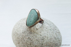 Polymer clay ring (bdywbobah) Tags: green stone handmade turquoise jewelry ring polymerclay rings copper
