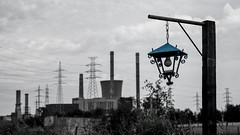 Industrial factory producing electricity (TouTouke - Nightfox) Tags: blue chimney sky white color building tower industry nature station river smog energy industrial factory technology tank power belgium space smoke pipe structure stack storage steam business generator pollution impact heat damage electricity environment carbon refinery copy generation warming fuel global chemical cooling fumes dioxide kluisbergen ruien