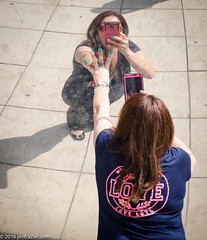 Touching Selfie (Jim Frazier) Tags: 2016 bean chicago city cloudgate day downtown il illinois jimfraziercom loop may millenium park selfies selfiesatthebean spring summer urban q3 people
