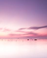 Calma (oscar.penelo) Tags: seascape sea sunrise pink boats landscape long exposure
