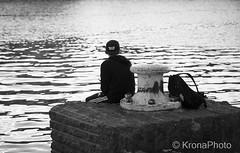 Daydreamer (KronaPhoto) Tags: 2016 høst bnw bw sea water pause daydream dagdrøm rest hvile peace peaceful norway sorthvit people street youth ungdom student kid elev