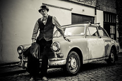 Me and my motor (sophie_merlo) Tags: model malemodel models modelling portrait man guy male old london car volvo classiccar volvoamazon street bw mono monochrome blackandwhite cars vehicles 1970s vintage rust rusty oldcar wreck vehicle