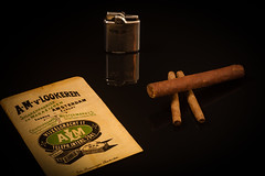Cigars (PaulHoo) Tags: advertising still design product closeup macro smoking cigar holland netherlands nostalgic ronson lighter 2016 detail sigarenfabriek van lookeren vijzelgracht amsterdam vintage history