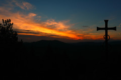 Mystical sunset (LaDani74) Tags: sunset cross faith religion hills tuscany silhouette country montesenario firenze autumn nature clouds red sky dusk
