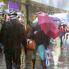Rainy Days and Mondays (Lemon~art) Tags: rain umbrella monday people shopping street manipulation texture