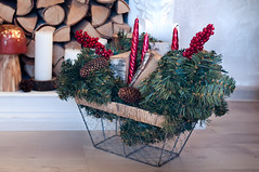 Christmas tree branches in basket (lyule4ik) Tags: basket christmas tree candles burning greeting life still decoration nobody green white ornament decorated red new concept bright festive celebration xmas card berries box arrangement object holidays advent winter interior merry december composition congratulation home background snow branch lights year ribbon