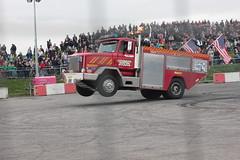 Santa Pod Flame & Thunder October 2016 (413) (Bristol Viewfinder) Tags: backdraft wheeliefiretruck ultimatemotorstunts pirelli monster trucks swampthing podzilla santapod