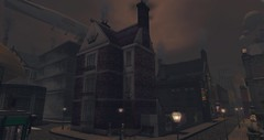 Luxfero House New Babbage (luxfero_cain) Tags: newbabbage steampunk victorian 1890s townhouse fog brick industrial industry academyofindustry mesh smoke chimney gaslight citylife coal zeppelin airship home house luxfero sim virtual 3d cgi secondlife