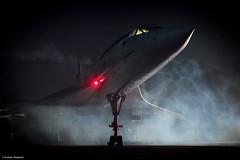 Futuristic (Articdriver) Tags: concorde aircraft jet britishairways supersonic delta brooklands surrey night mist
