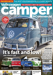 VW Camper and Commercial Issue 110 Cover (Eric Arnold Photography) Tags: vw volkswagen bus truck singlecab cab single camper commercialmagazine cover feature shoot photoshoot dove blue mural vegas lasvegas dtlv downtown fremont nv nevada logo emblem safari windows low lowered