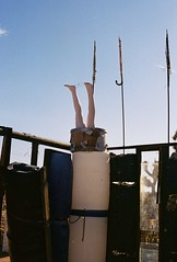long_legs (rainy_forecast) Tags: nikonf2 july summer emibell 35mm film colorfilm nikonfilmphotography analogue desert yuccavalley joshuatree noahpurifoy highdeserttestsite socal publicart outdoorart mannequin legs art sculpture wood metal
