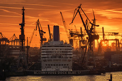 Blohm&Voss (digital_underground) Tags: ship hamburg docks harbour harbor elbe river water sunset sun