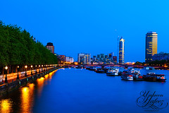 Vauxhall (Umbreen Hafeez) Tags: city uk blue light england reflection building london thames night buildings river dark boats boat twilight europe long exposure cityscape low hour gb vauxhall