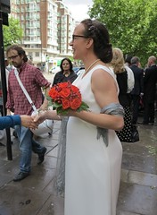 congratulating the bride (squeezemonkey) Tags: wedding portrait london bride bouquet maryleboneroad registryoffice maryleboneoldtownhall