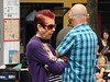 Unimpressed (knightbefore_99) Tags: street people art vancouver hair bc purple arms candid watch tourist commercialdrive eastvan crossed unimpressed thedrive carfreeday