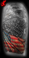Patriotic Flag Eagle Tattoo by Jackie Rabbit (Jackie rabbit Tattoos) Tags: california ca city dog flower color sexy rabbit bird beautiful tattoo america vintage nude skull star 3d jackie colorful artist heart eagle good infinity flag feather patriotic tribal best roanoke american va anchor chico tat sleeve realistic eyeofjade