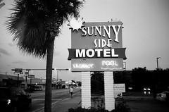 Sunny Side Motel Sign (Phillip Pessar) Tags: camera bw white black film beach analog store florida zoom kodak miami infinity tx south trix olympus x thrift 400 tri 70 sobe 34mm