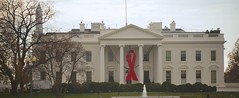 World AIDS Day - Red Ribbon on the White House Portico 33921