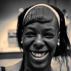 Smile (CorH) Tags: street city portrait people urban blackandwhite bw white black monochrome blackwhite belgium belgie candid streetphotography antwerp antwerpen straatfotografie corh