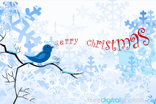 Blue bird Christmas background - illustration by digitalart