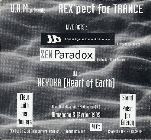 "Patrice Heyoka - Flyer 05/02/1995 - UAM ""Rex'pect for Trance"" @ Rex Club (Paris) <a style=""margin-left:10px; font-size:0.8em;"" href=""http://www.flickr.com/photos/110110699@N03/11325129523/"" target=""_blank"">@flickr</a>"