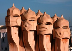 Ghosts or warriors ... or chimneys of Casa Milà in Barcelona (Sokleine) Tags: barcelona architecture spain unesco espana gaudi ghosts warriors espagne unescoworldheritage chimneys casamila modernisme lapedrera cheminées catalogne spectres guerriers