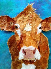 Torn Paper Cow - How Now Brown Cow, unfinished (all things paper) Tags: petportraits chigirie tornpaperart