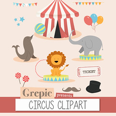 """Circus clipart: Digital circus clip art pack """"CIRCUS CLIPART"""" for scrapbooking, card making, invites (workyourart) Tags: show elephant art graphics circus lion illustrations images clip pack seal clipart circustent"""