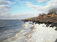 (Matt Allouf) Tags: new winter 120 film ice beach bay frozen 645 kodak sandy rocky bronica jersey medium format 100 hook raritan ektar etrsi