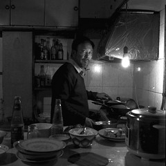 Shanghai-GP3-20131130 (Xue Rui) Tags: birthday blackandwhite bw 6x6 tlr film cooking kitchen dinner dad seagull meal supper    gp3