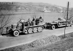SdKfz.9 pulling Sd. AH. 115 tank transport trailer With Pz.I as load.