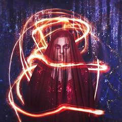 the mystic (sparkbearer) Tags: light red portrait orange lightpainting candle bright magic digitalart surreal mystic chelseaknight