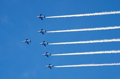The Blue Impulse in the Tokyo Sky (ELCAN KE-7A) Tags: blue japan airplane tokyo force pentax stadium air national   olympic selfdefense  t4 impulse 2014         k5s