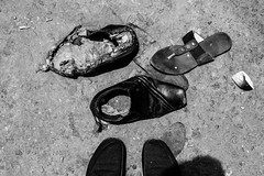 Memoirs of some shoes (Hermaenos) Tags: street bw stilllife monochrome canon shoes streetphotography 6d vftw