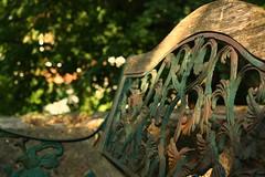 Bench at Särö kyrka (blondinrikard) Tags: wood light metal bench wooden shadows peelingpaint kungsbacka halland västkusten särö hallandslän kungsbackakommun