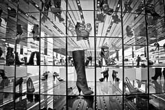 Definitely Not Payless (ADW44) Tags: dubai mall shoes blackandwhite uae reallyrightstuffbh40 canon5dmarkiii canon1635mmf28 wideangle bw monochrome lines