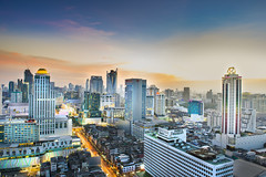 Bangkok, Thailand - Nov 2 2015 : Bangkok view from building in The evening at the Rachapralop on Nov 2, 2015. Bangkok is the capital and the most populous city of Thailand. (nattapan.suwansukho) Tags: abstract architecture asia bangkok beauty blue bridge building capital center city cityscape cloud commercial construction district downtown highway hotel landmark landscape light metropolis metropolitan modern motion office reflection relax road sathorn scene scenic sky skyline skyscraper street taksin thai thailand tower town traffic transport transportation travel twilight urban urbanscape view