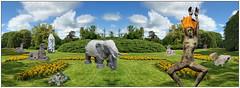 Skulpturenpark (menzelhd) Tags: skulpturenpark skulptur park plastik digiart komposition elefant tnzerin sphinx fantasy stein pferd fotomontage mystery schildkrte stift landschaftspark sule